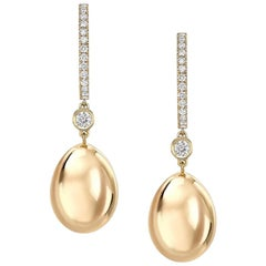 Fabergé Imperial Yellow Gold Egg Hoop Drop Earrings