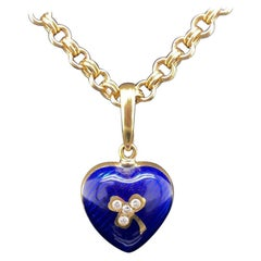 Fabergé 18 Karat Yellow Gold Enamel Diamond Heart Pendant and Chain