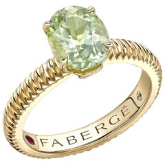 Fabergé 18 Karat Yellow Gold Pale Blue Tourmaline Fluted Ring