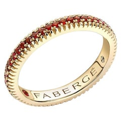 18K Yellow Gold Ruby Set Fluted Band Ring