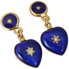 Modern Faberge 18 Carat Gold Blue Enamel and Diamond Heart Dangle Earrings