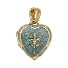 Fabergé 18k Gold Heart Locket, Enamel, Diamonds 0,075 Ct
