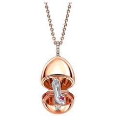 Fabergé Essence Rose Gold Ruby Set Shoe Surprise Locket