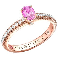 18K Rose Gold Oval Pink Sapphire Fluted Ring with Diamond Shoulders