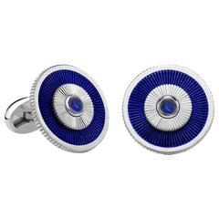 18K White Gold Blue Sapphire Cufflinks With Guilloché Enamel