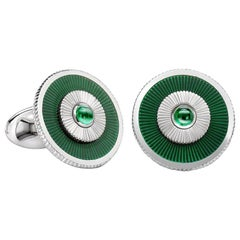 18K White Gold Enamel Cufflinks With Green Guilloché Enamel
