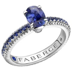Colours of Love White Gold Blue Sapphire Fluted Ring with Sapphire Shoulders