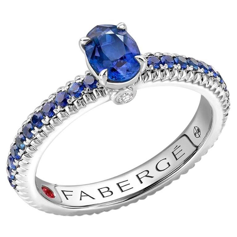 18K White Gold Sapphire Fluted Ring with Sapphire Shoulders For Sale
