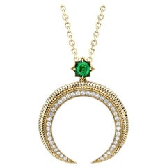 18k Yellow gold Emerald and Diamond Hilal Crescent Pendant