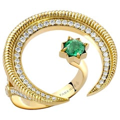 Fabergé Colours of Love Yellow Gold Emerald & Diamond Crescent Ring