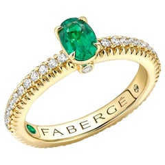 18k Yellow Gold Emerald Fluted Ring with Diamond Shoulders