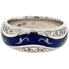 Faberge 18KT Gold Diamond 0.15Ct. & Blue Enamel Band Ring #67/1000, Certificate