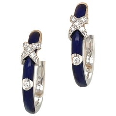 Faberge 18kt White Gold Diamond 0.22ct. and Blue Enamel Hoop Earrings #18