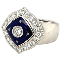 Faberge 18KT White Gold Diamond 0.66 Carat & Blue Enamel Ring, with Certificate