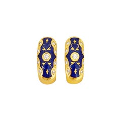 Faberge 18kt Yellow Gold Diamond 0.24Cts. & Blue Enamel Huggy Earrings #51/300