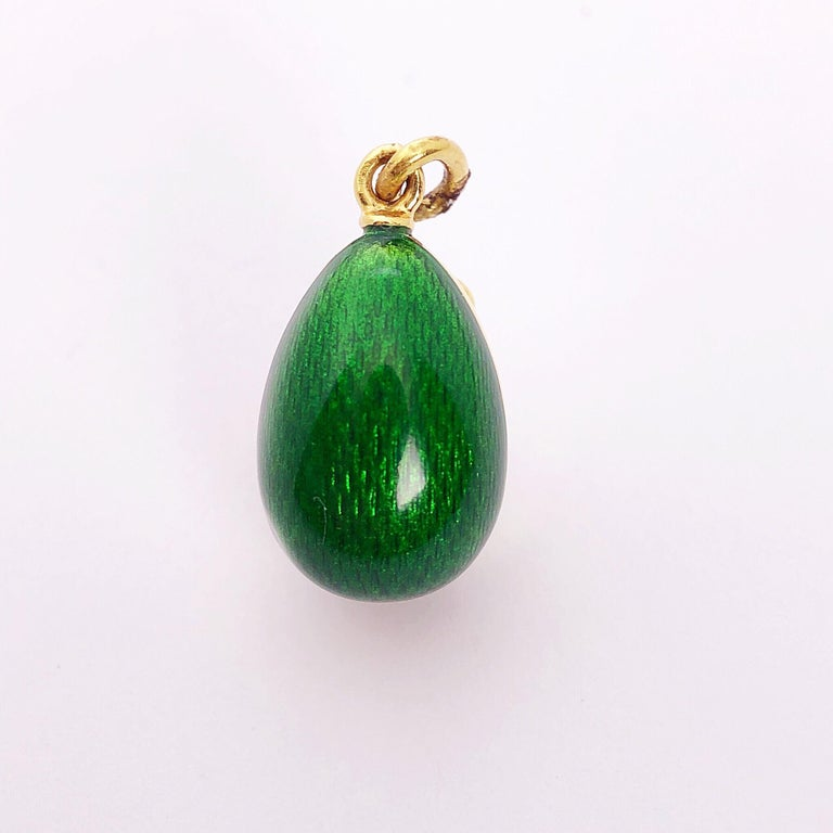 Modern Faberge 18Kt Yellow Gold & Guilloché Caged Egg pendant w/ Diamonds & Certificate For Sale