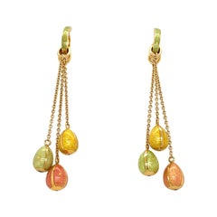 Faberge 18kt Yellow Gold & Peach, Green & Yellow Enamel Hanging Eggs Earrings