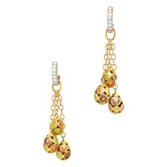 Faberge 18KT Yellow & White Gold Diamond 0.27Ct. & Enamel Eggs Hanging Earrings