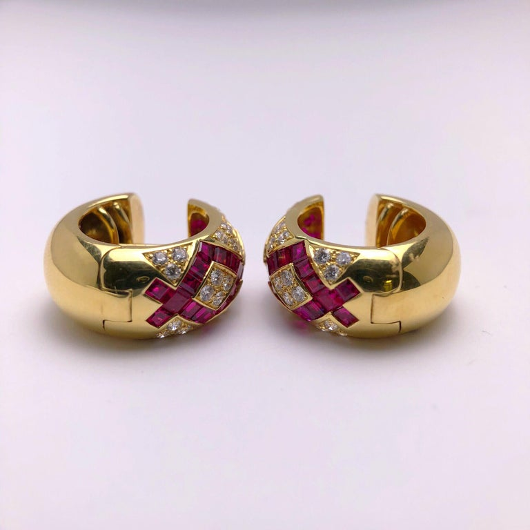 Modern Victor Mayer Faberge  Diamond Ruby Huggie Earrings with Certificate In New Condition For Sale In New York, NY
