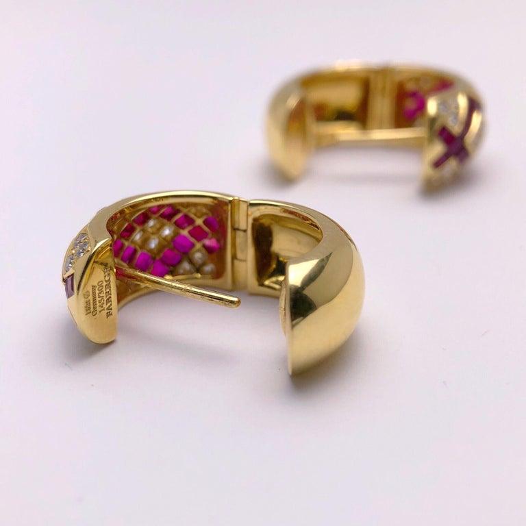 Women's Modern Victor Mayer Faberge  Diamond Ruby Huggie Earrings with Certificate For Sale