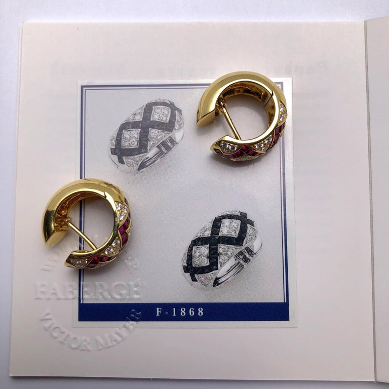 Modern Victor Mayer Faberge  Diamond Ruby Huggie Earrings with Certificate For Sale 2