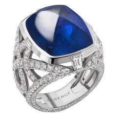 19ct Blue Cabochon Sapphire Ring With Diamonds In 18K White Gold