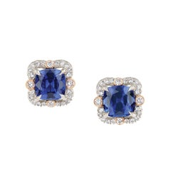 FABERGÉ 2 Cushion Sapphires 3.49 Carat and Round White Diamonds Ella Earrings