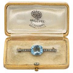 Faberge 5 Carat Aquamarine and Diamond Pin Original Box