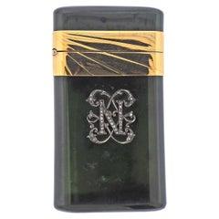 Fabergé Antique Nephrite Diamond Silver and Gold Cigarette Case Holder