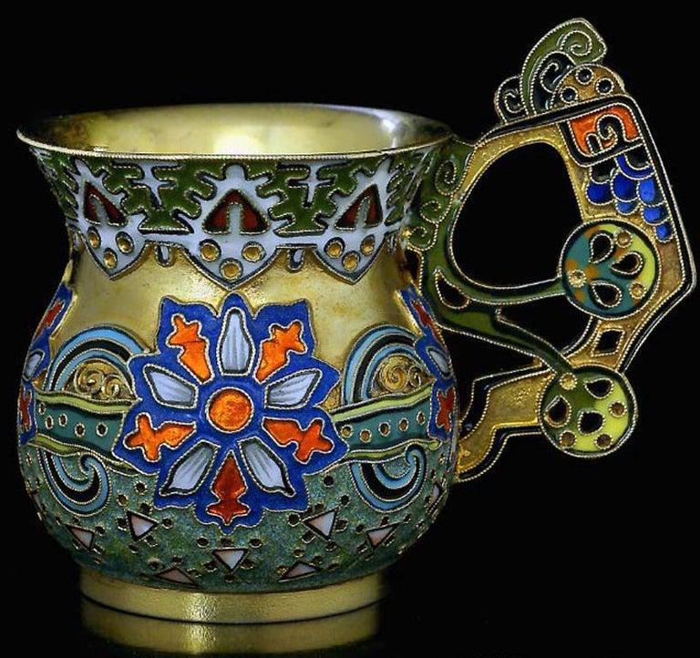 Antique Russian Cloisonne Enamel Vodka Cup by Faberge For Sale 2