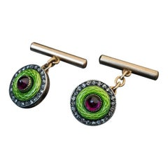 Faberge Antique Russian Enamel Ruby Diamond Gold Silver Cufflinks