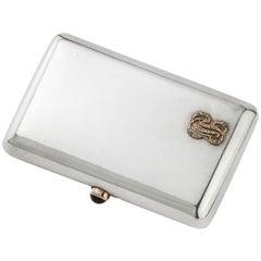 Fabergé Antique Russian Silver Cigarette Box with Diamond Encrusted Initials