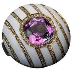 Faberge Antique Russian Tourmaline Enamel Diamond Gold Brooch