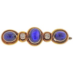 Faberge Antique Sapphire Diamond Gold Brooch