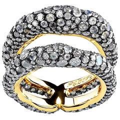 Après Minuit 18K Gold Diamond & Moonstone Encrusted Double Band Ring