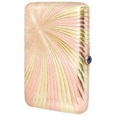 Faberge Bi-Color Ribbed Gold Cigarette Case