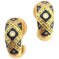 Modern Faberge Blue Enamel and Diamond Earring F2279BL