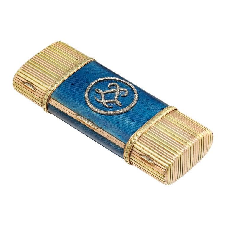 Rose Cut Faberge Blue Enamel Gold Vanity Case For Sale