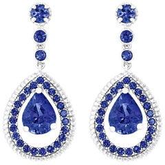 Fabergé Blue Sapphire Pavé Drop Earrings