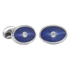 Boris 18K White Gold Diamond Oval Cufflinks With Blue Guilloché Enamel