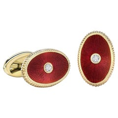 Boris 18K Rose Gold Diamond Oval Cufflinks With Red Guilloché Enamel