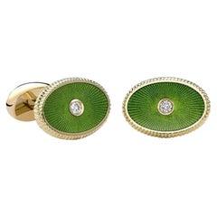 Boris 18K Yellow Gold Diamond Oval Cufflinks With Green Guilloché Enamel