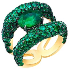 Charmeuse 18K Yellow Gold Emerald Ring With Emerald Encrusted Shoulders