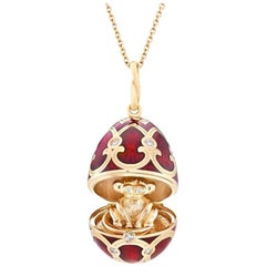 Chinese New Year Palais Tsarskoye Selo Yellow Gold Locket with Red Enamel