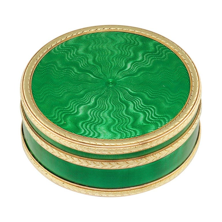 Victorian Faberge Circular Green Enamel Silver-Gilt Gold Pill Box For Sale