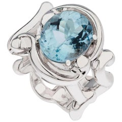Fabergé Collection Rococo Rose Gold with Aquamarine 4.26 Carat Ring