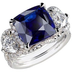 Fabergé Collection Three Colors of Love Gubelin Cert 6.01 Carat Sapphire Ring