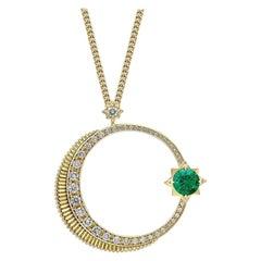 Fabergé Colour of Love Crescent Yellow Gold Emerald & Diamond Pendant 1375PE2485