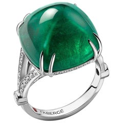 Colours of Love Empress White Gold 22.31ct Sugarloaf Emerald Ring Set