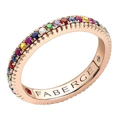 Colours of Love Rose Gold Multicoloured Gemstone Set Fluted Ring
